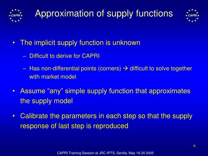 Approximation of supply functions