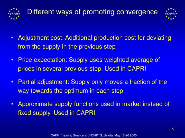 Different ways of promoting convergence