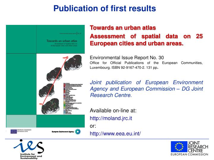 Publication of first results