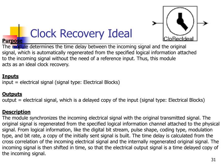 Clock Recovery Ideal