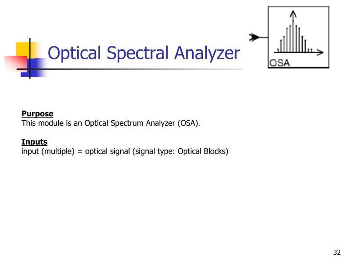 Optical Spectral Analyzer