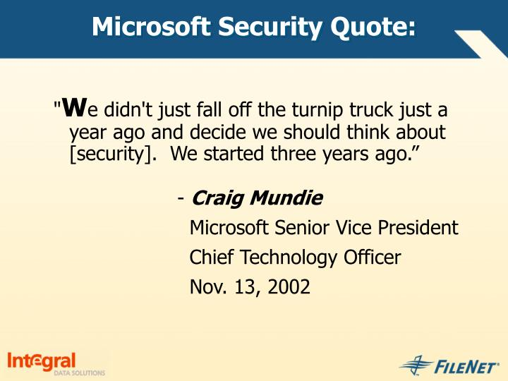 Microsoft Security Quote:
