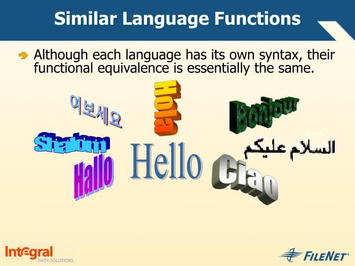 Similar Language Functions