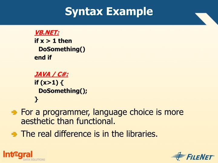 Syntax Example