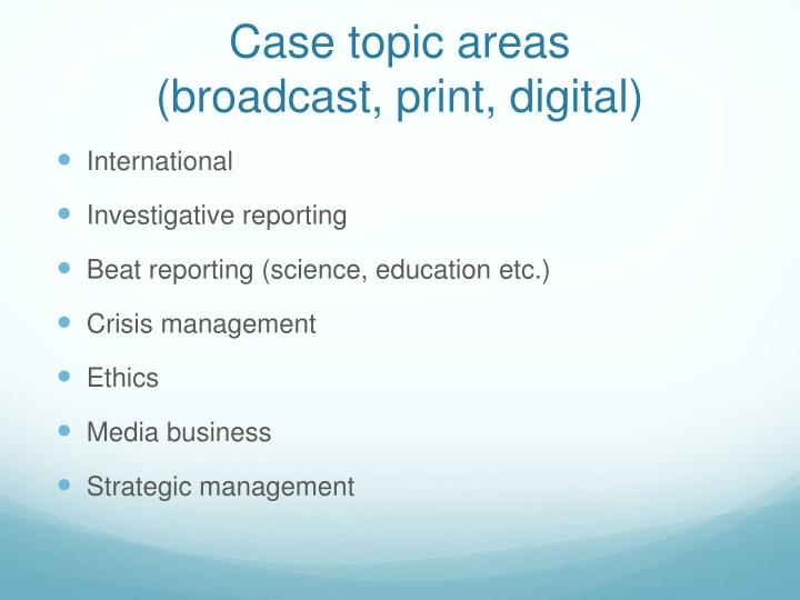 Case topic areas