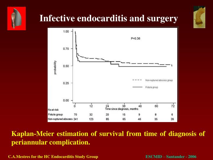 Kaplan-Meier estimation of survival from time of diagnosis of periannular complication.