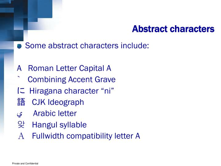 Abstract characters