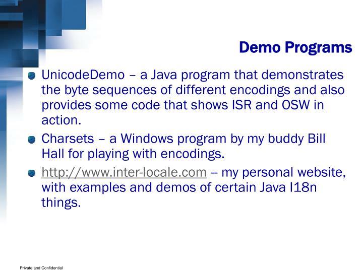 Demo Programs