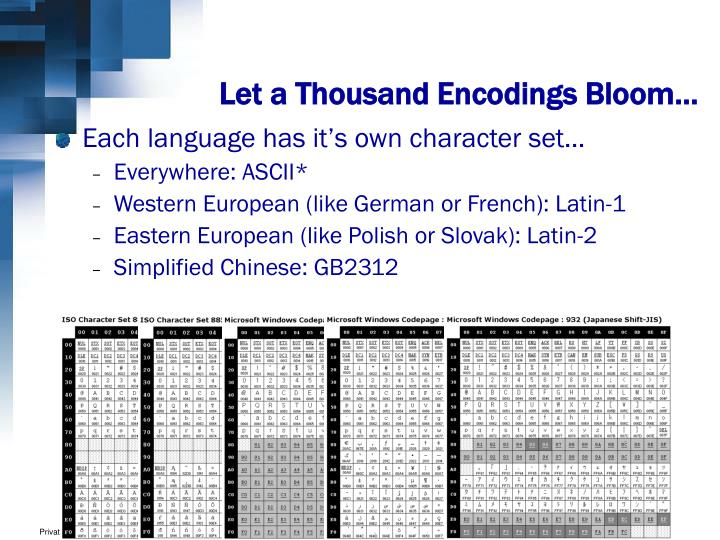 Let a Thousand Encodings Bloom…