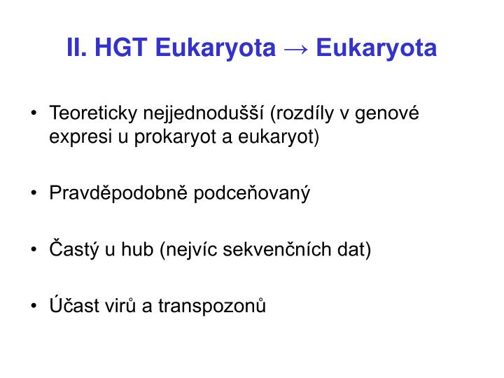 II. HGT Eukaryota
