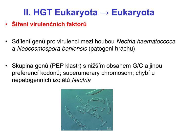 II. HGT Eukaryota → Eukaryota