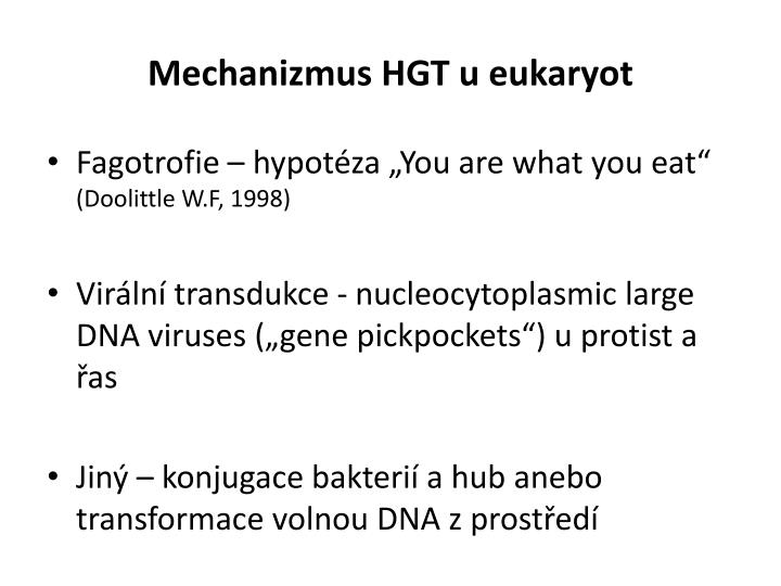 Mechanizmus HGT u eukaryot