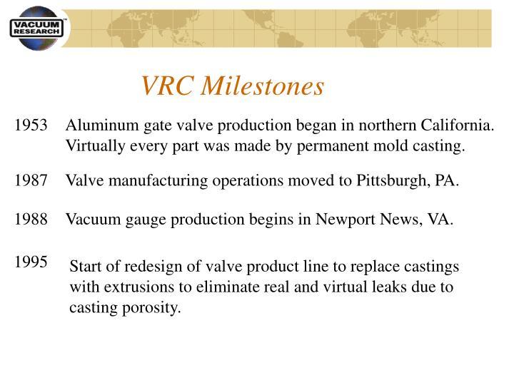 VRC Milestones