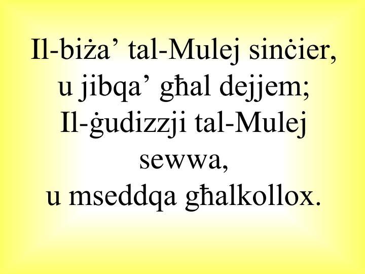 Il-biża' tal-Mulej sinċier, u jibqa' għal dejjem;