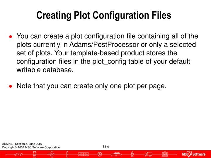 Creating Plot Configuration Files