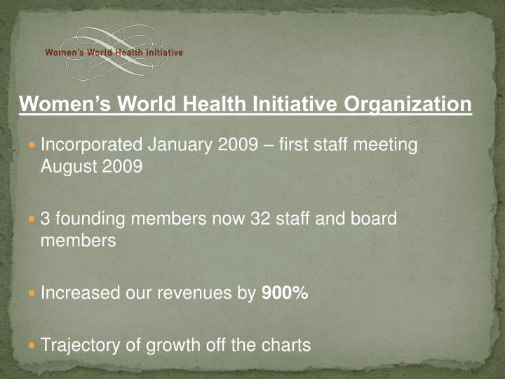 Incorporated January 2009 – first staff meeting August 2009
