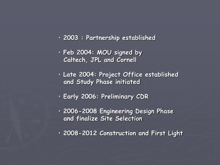 2003 : Partnership established