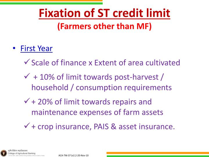 Fixation of ST credit limit