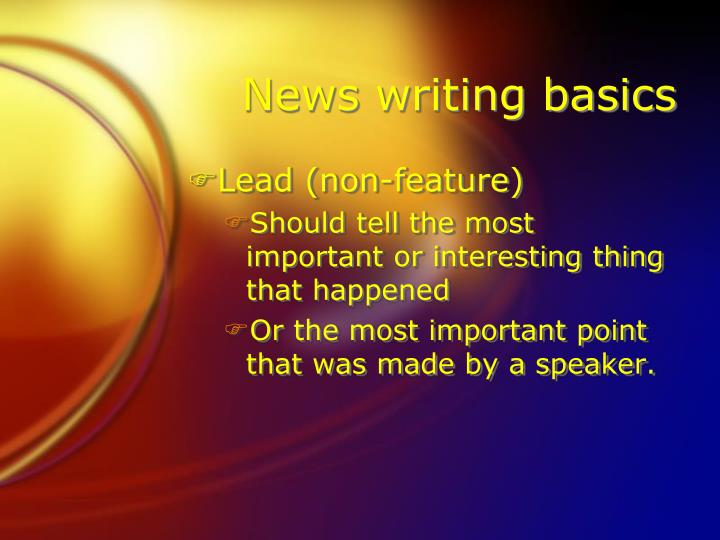 News writing basics
