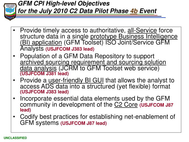 GFM CPI High-level Objectives