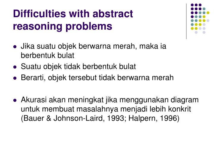 Difficulties with abstract reasoning problems