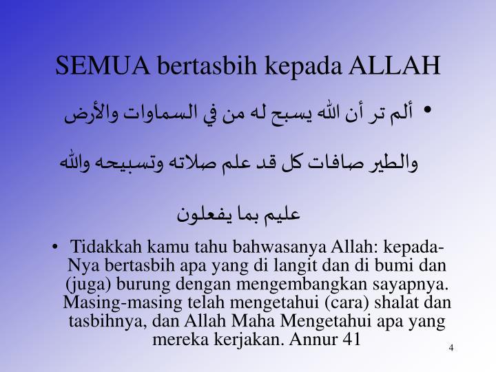 SEMUA bertasbih kepada ALLAH