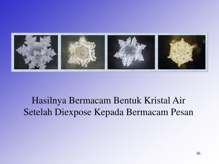 Hasilnya Bermacam Bentuk Kristal Air