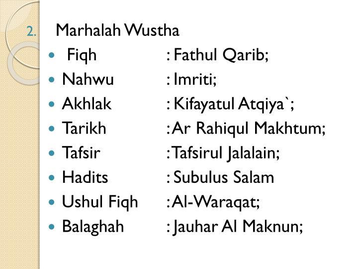 Marhalah Wustha