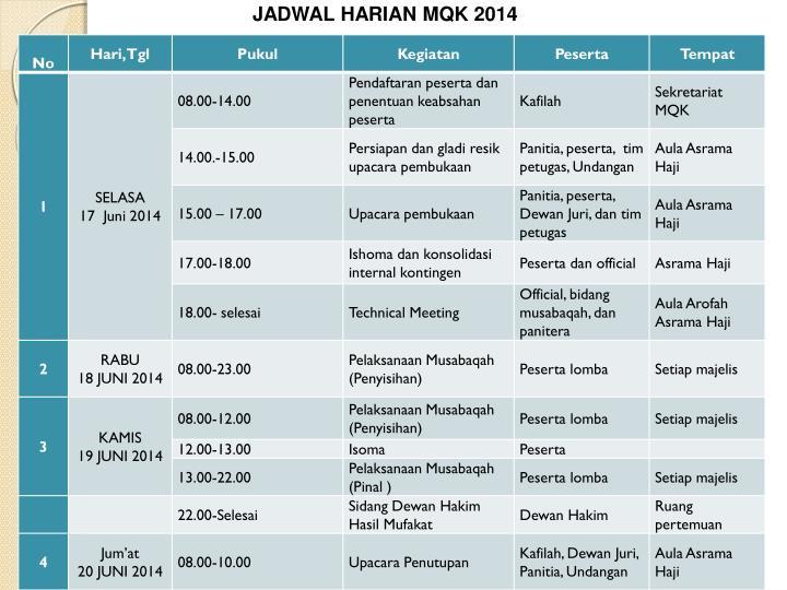 JADWAL HARIAN MQK 2014