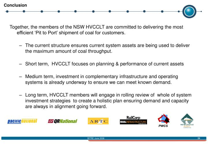 Together, the members of the NSW HVCCLT are committed to delivering the most efficient 'Pit to Port' shipment of coal for customers.