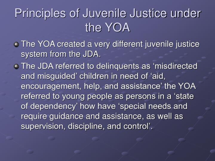 Principles of Juvenile Justice under the YOA