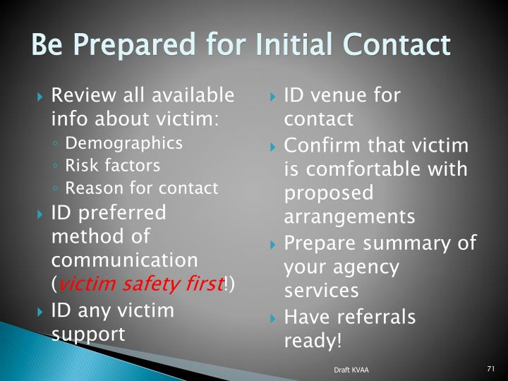 Be Prepared for Initial Contact