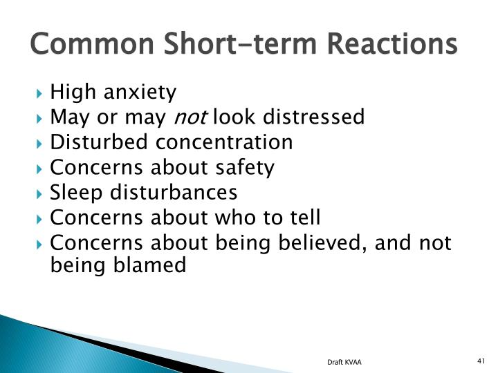 Common Short-term Reactions