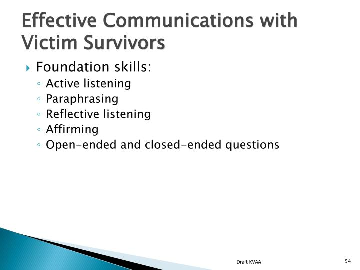 Effective Communications with Victim Survivors