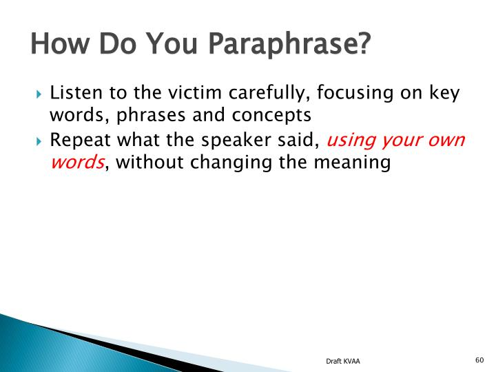How Do You Paraphrase?