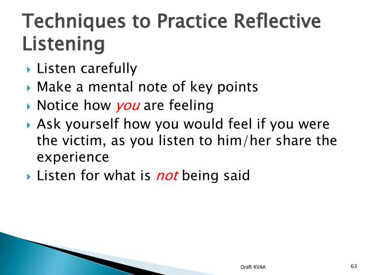 Techniques to Practice Reflective Listening