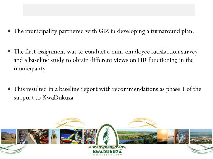 The municipality partnered with GIZ in developing a turnaround plan.