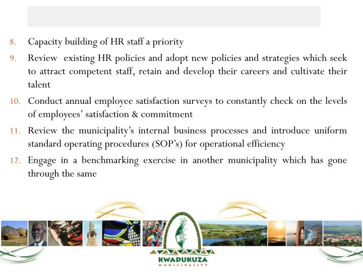 Capacity building of HR staff a priority