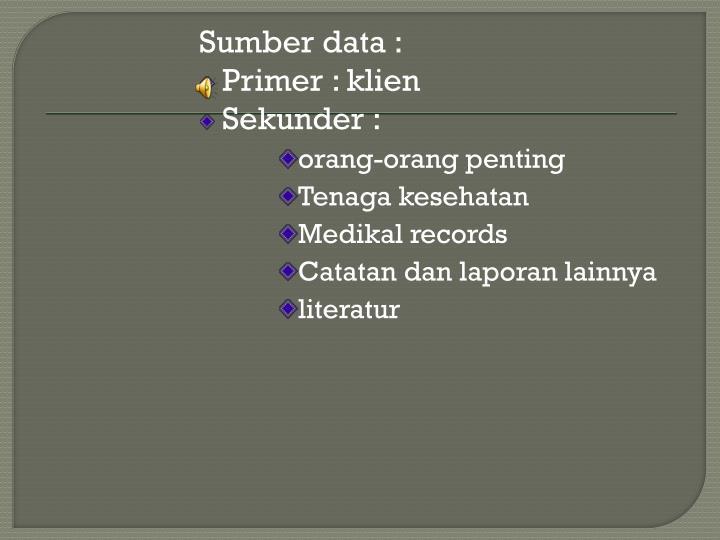 Sumber data :