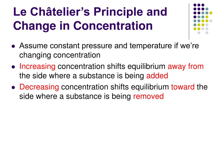 Le Châtelier's Principle and Change in Concentration