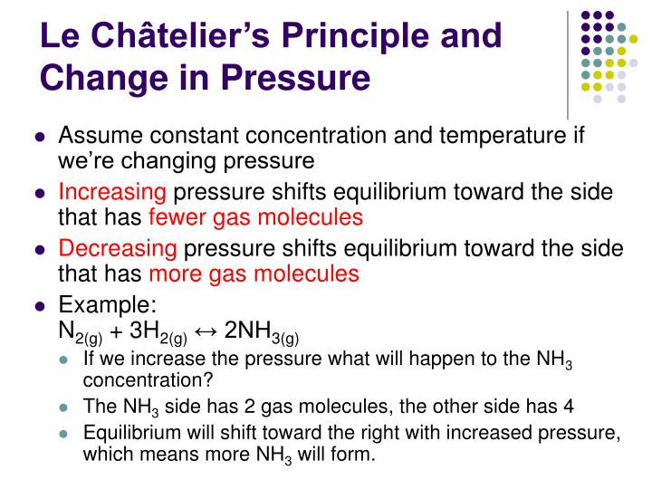Le Châtelier's Principle and Change in Pressure