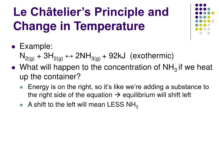 Le Châtelier's Principle and Change in Temperature
