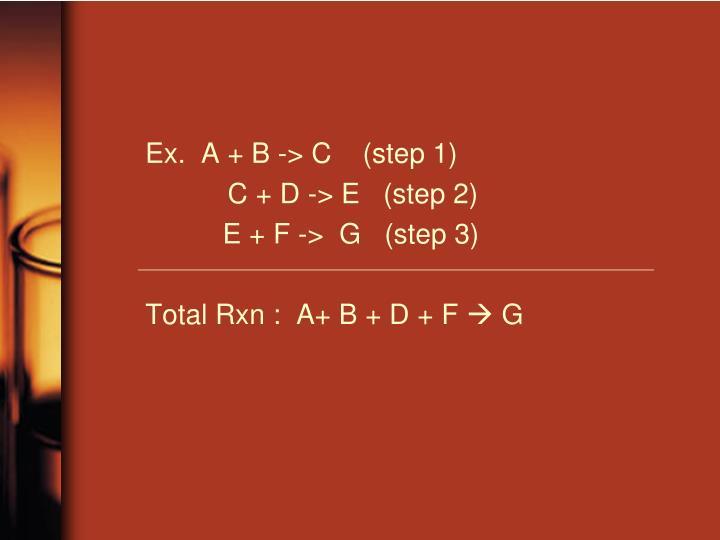 Ex.  A + B -> C    (step 1)