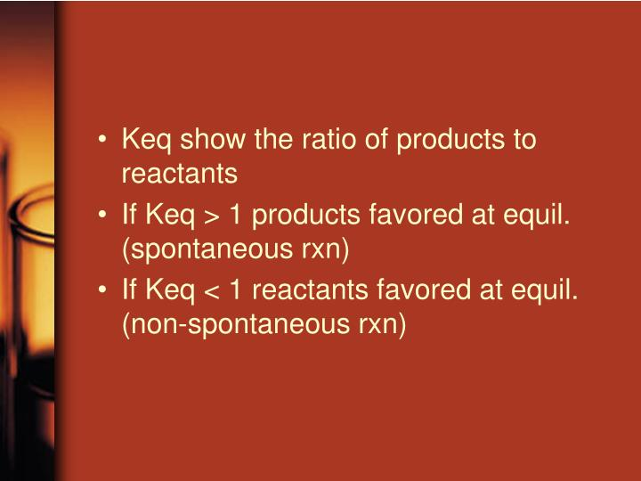 Keq show the ratio of products to reactants