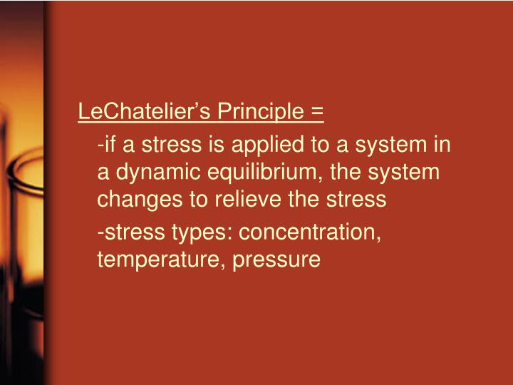 LeChatelier's Principle =