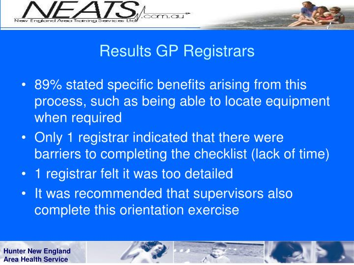 Results GP Registrars