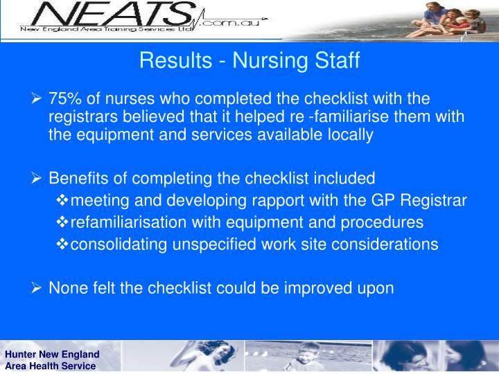 Results - Nursing Staff