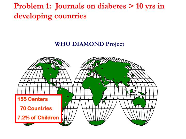 Problem 1:  Journals on diabetes > 10 yrs in developing countries