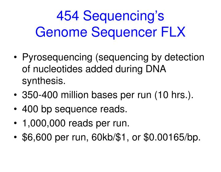 454 Sequencing's Genome Sequencer FLX