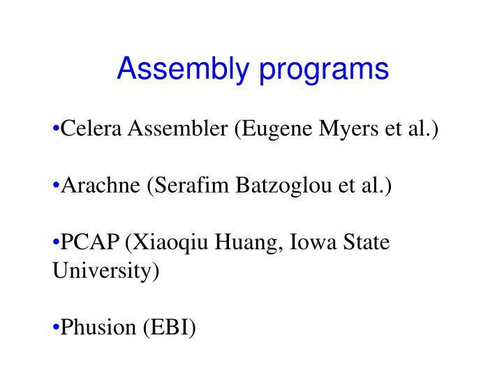 Assembly programs
